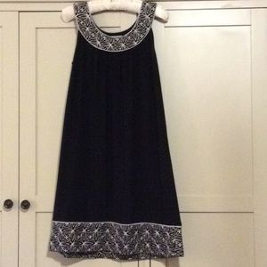 Dress Barn black dress. Size 6. White embroidery